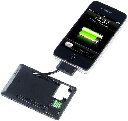 PEARL Mini Powerbank: Notfall-Powerbank im Kreditkartenformat für iPhone 3/3GS/4/4s (iOS-Powerbank)
