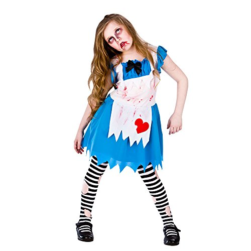 (M) Girls Alice in Zombieland Halloween Costume for Fairytales Fancy Dress Kids Medium Age 5-7 ()