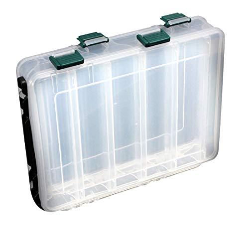 Señuelos de pesca Caja de almacenamiento Plástico Pesca con mosca Señuelos de pesca Caja de trastos Lado doble 10 Compartimientos Caja de trastos De alta resistencia Transparente visible con orificio de drenaje 20 * 17 * 4.7 cm