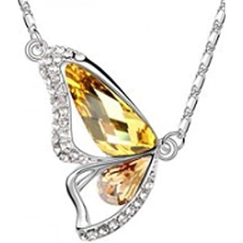 SaySure–Bañados en oro 18K rhinestone crystal lujo mariposa collares, unisex, Silver Yellow
