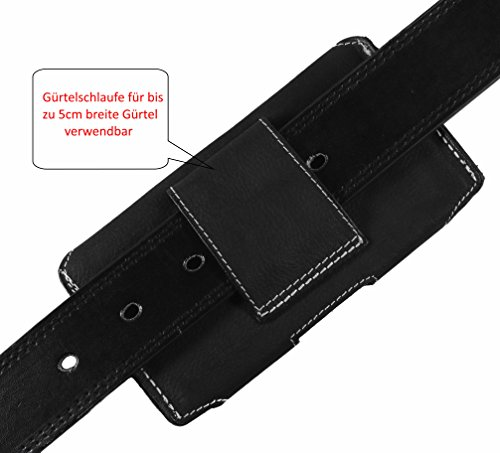 Matador iPhone 6 / 6s (4.7) ECHT Ledertasche Leder Hülle Case Handy-Tasche Gürteltasche mit verdecktem Magnetverschluss Breite Gürtelschlaufe Antik Tobacco Braun Crazy Black
