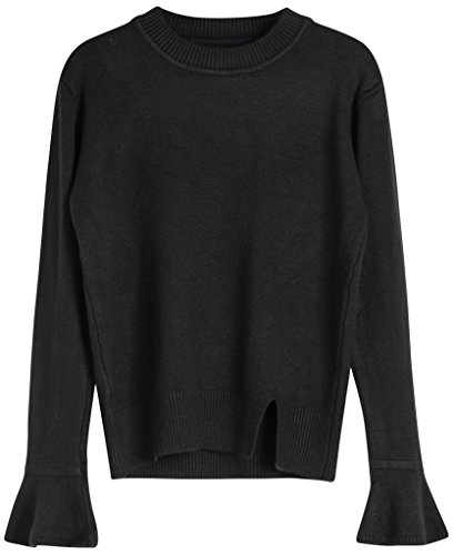 Vogueearth Fashion Hot Femme's Ladies Pagoda Manche Basic Knit Jumper Sweater Chandail Tricots Pullover Top Noir