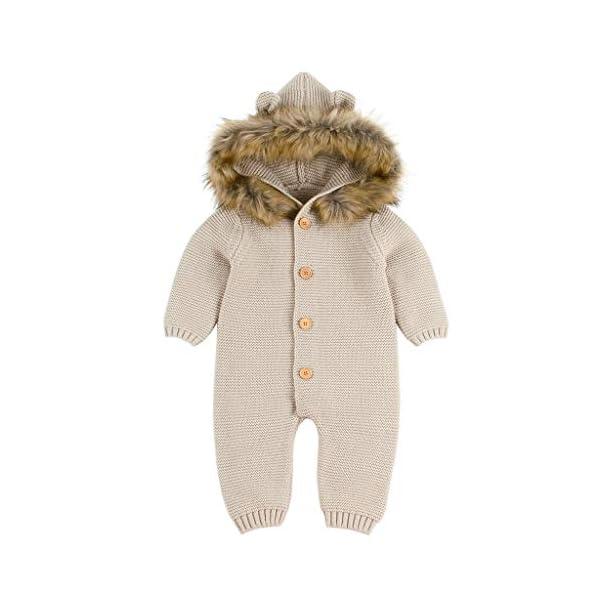 MYONA Bebé Mameluco con Capucha, Mono Recién Nacido de Punto con Botones Suave Bodies Bebé Manga Larga Calentar Pijama… 1