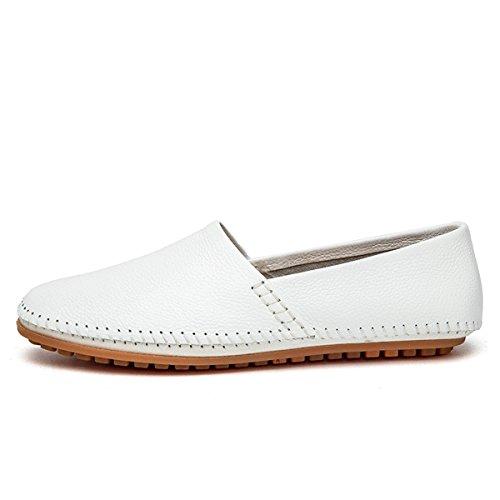 AFFINEST Couleur Unie En Cuir Sans-Gêne Conduite Mocassins Chaussures Blanc