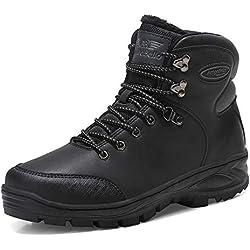 AX BOXING Hombre Botines Zapatos Botas Nieve Invierno Botas Impermeables Fur Forro Aire Libre Boots (45 EU, A7351-Negro)