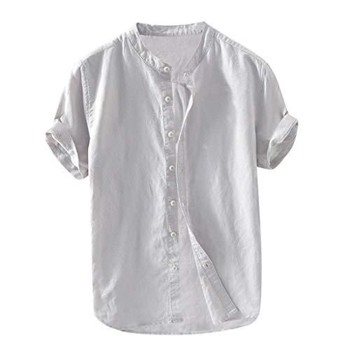 Amphia Herren Leinenhemd Kurzarm - Männer Slim Fit Hemd aus festem Leinen Baumwolle Kurzarm - Überprüfen Sie Classic Fit Shirt