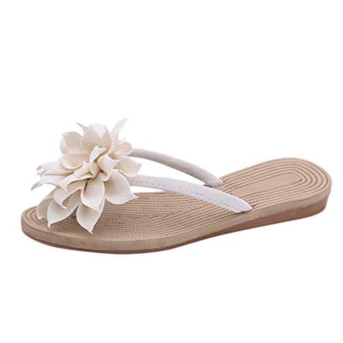 Gladiator T-strap Flachen Sandalen (Yesmile Damen Sandalen Rutschfeste Flip Flops Sommer Frauen Blumen Hausschuhe Flachen Flops Strand Schuhe Freizeit Sommerschuhe Elegante)