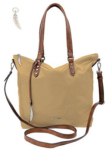 Handtasche von Waipuna aus hochwertigem Nylon mit Schlüsselanhänger, camel (Stoff Handtaschen Camel)