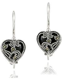 Sterling Silver Onyx & Marcasite Heart Drop Earrings