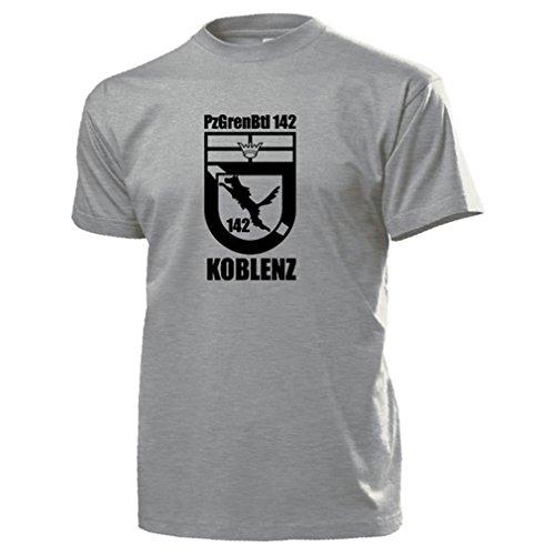 PzGrenBtl 142 Koblenz Panzergrenadierbataillon Wappen Bundeswehr T Shirt #15622, Farbe:Grau, Größe:Herren XXL