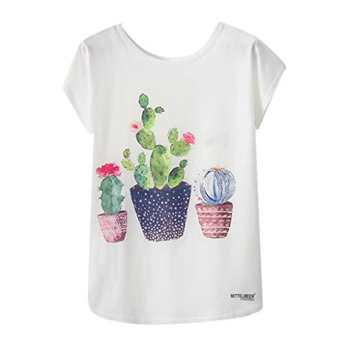Damen Mode geometrische Niedliches Kawaii Style Harajuku T-Shirt,Animal Print O-Neck Kurzarm lose T-Shirt Bluse(A 2,XL)