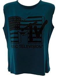 LADIES MTV MUSIC TELEVISION PRINT SLEEVELESS CROP TOP WOMEN CROPPED T SHIRT 8-14