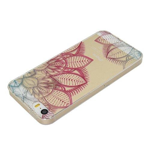Apple iPhone 5 5G 5S SE Coque, Voguecase TPU avec Absorption de Choc, Etui Silicone Souple Transparent, Légère / Ajustement Parfait Coque Shell Housse Cover pour Apple iPhone 5 5G 5S SE (fleur colorée couleur des feuilles