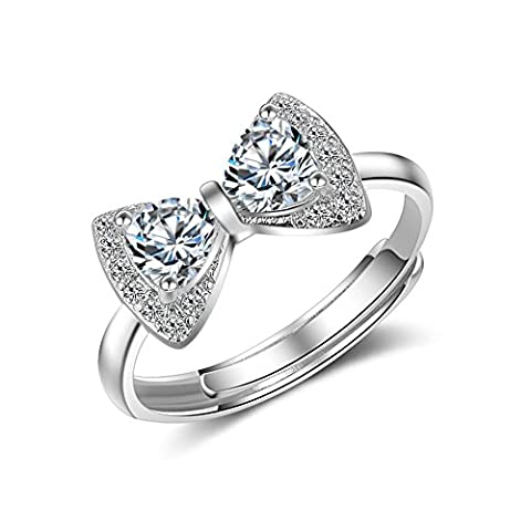 925 Sterling Silver Plated Vintage Cubic Zirconia Bowtie Women Open Band Ring,adjustable