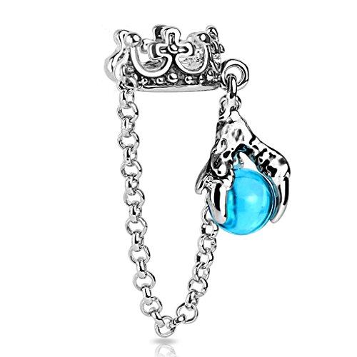 bungsa® Ear Cuff in acciaio corona del drago con sfera orecchini (Conch argento Piercing finto per bambine & donna-orecchini pendenti con ganci auricolari donne uomo Mode)
