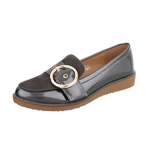 Ital-Design Chaussures Femme Mocassins Plat Slippers gris W-5-1