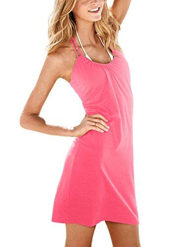 Damen Halfter Ärmellos Rundhalsausschnitt Kurzes Kleid Freizeitkleid Strandkleid Sommerkleid Koralle Rot