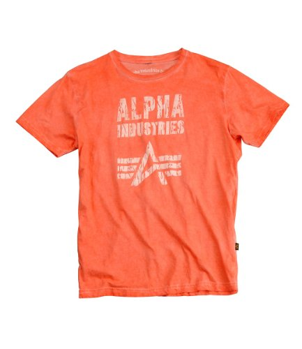 Alpha Industries Crack Print T-Shirt burned orange