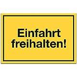 Einfahrt Freihalten Schild (gelb PLAIN, 30 x 20cm), Ein- und Ausfahrt Tag und Nacht freihalten - kostenpflichtig abgeschleppt, Hinweisschild Einfahrt - auch gegenüber, Parken verboten - Parkverbot, Halteverbot