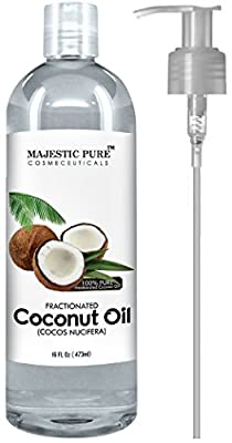 Fractionated Coconut Oil 16 Oz - 100% Pure & Natural - Moisturizer & Softener, Excellent Massage Oil from Majestic Pure from Majestic Pure