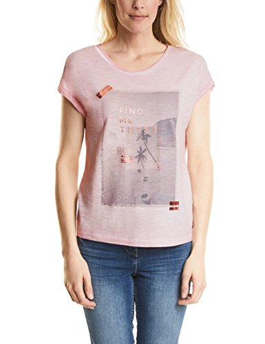 Cecil Damen T-Shirt 312190, Pink (Soft Blossom 31216), Medium (T-shirt Gold-damen-pink)