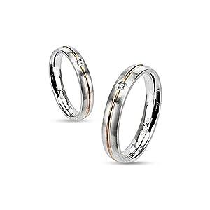 Autiga Ring Damenring Verlobungsring Hochzeit Edelstahl Gold Inlay Zirkonia Kristall