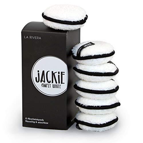 JACKIE Abschminkpads waschbar | 6 Pads | wiederverwendbar nachhaltig umweltfreundlich | Gesichtsreinigung nur mit Wasser (Simply White)