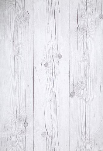 Blanco Vintage, Paquete de 1 Papel tapiz de mural autoadhesivo con veta de madera reciclada y rústica...