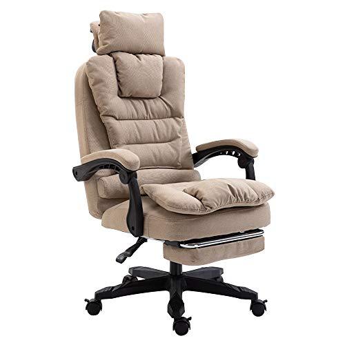 Bseack Chefsessel Schreibtischstuhl,mit Footrrst Ergonomischer Chefsessel Verstellbare Höhe mit Kopfstütze Tragfähigkeit: 330lbs (Color : Khaki) -