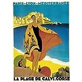 Calvi, Korsika, Frankreich. Vintage Art Deco Reise Poster, Papier / Fotopapier, Super A2