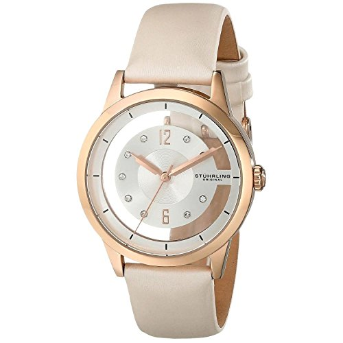 Stuhrling Original Women's 946L.02 Winchester Quartz Rose Tone Transparent Dial White Leather Watch