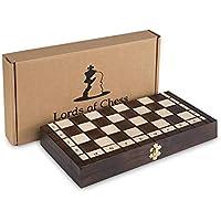 Amazinggirl Jeu d'échecs de Haute qualité fabriqué à la Main en Bois Pliant pièces d'échecs en Bois d'échiquier Noble Enfants et Cassette d'échecs Professionnel avec des Chiffres sculptés à la Main