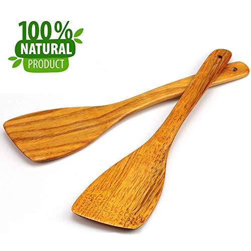 MoonWood Holzspatel Set zum Kochen - Hartholz Ideal für Pfanne, Kochutensilien und Wok - Holzwender- 30cm, 2er Pack