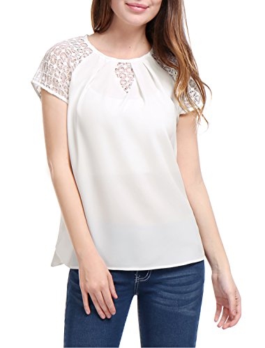 L (US 14) , White : Allegra K Women's Chiffon Pleated Front Lace Raglan Sleeves Blouse
