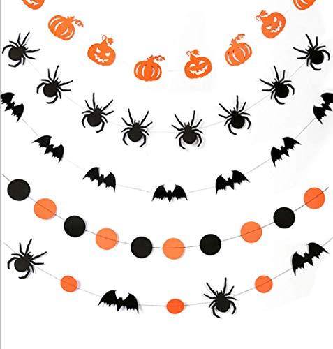 Shuny 5 StückHalloween-Banner,Kürbis Banner,Bat Fahne,Spinne Banner,Halloween Flagge spinne Muster Halloween hängen Banner, für Halloween Party hängende Dekoration (Büro-tür-für Halloween Dekorieren Sie)