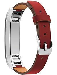 Para Fitbit alta correa, srander bandas de piel auténtica Smart Watch de ritmo cardíaco FITNESS correa pulsera banda Reemplazo Accesorios (Tracker no incluido), rojo