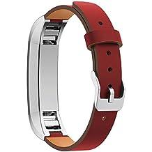 Bandas para reloj inteligente de pulsación de corazón de piel auténtica SRANDER por correas Fitbit Alta Fitness/Alta HR, correas brazalete, accesorios de reemplazo (medidor no incluido)., color rojo