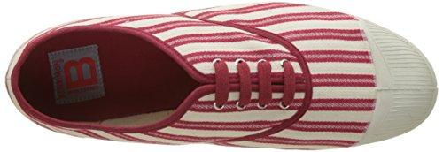 Bensimon Tennis Lacet Rayures Transat, Baskets Basses Homme Rouge (Rouge)