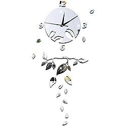 HCC&& Spiegel Wanduhr DIY Home Decoration Laubbaum Blätter 3D Uhren Uhren, Silver