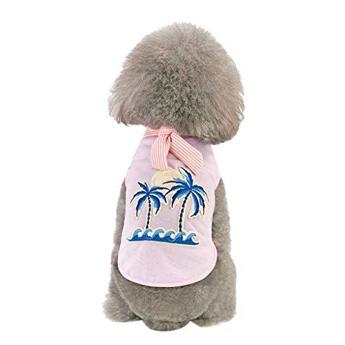 Kostüm Pudel T Mit Rock Shirt - Balock Schuhe Haustier T Shirt - Kokosnussbaum Strick Muster Weste - Netter Schoßhund T Shirt Kostüm - Frühlings Herbstmode Haustier Kleidung - für Das Wandern,Das Joggen,für Kleinen Hund (Rosa, L)