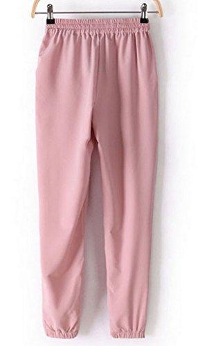 Smile YKK Pantalon Mousseline de Soie Femme Legging Fluide Automne Hiver Soirée Casual Elégant Rose