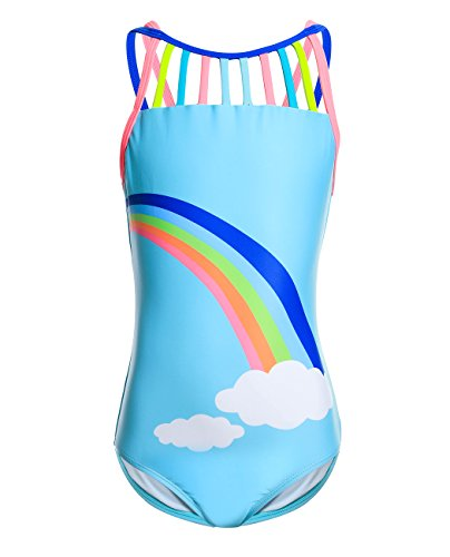 iDrawl Mädchen Badeanzug One Piece Bademode Kinder Schwimmstunde Sommer Beachwear UV Shutz Anzug,Regenbogen,116-128 - Mädchen One Piece Bademode