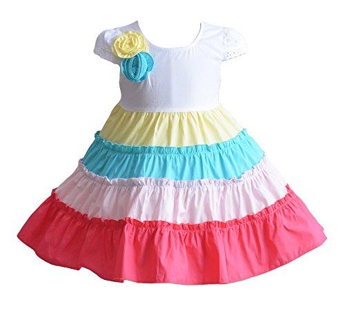 Cinda Baby Mädchen fünf Farbe Reifen Baumwolle Partei Kleid Mehrfarbig 86-92 (Mädchen Blumen öse Kleid)
