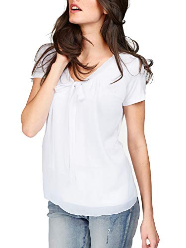 ELFIN Damen Bluse Chiffon Langarm Elegant Oberteile Vintage Fliege Hals Hemd Kurzarm T-Shirt -