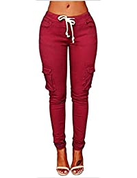 Chino Sommer Young Fashion Elegante Damen Hose mit Zipper Plissee Button  Riemchen Apparel mit Taschen mit Gürtel High Waist Unifarben Pants… fd90c0a828
