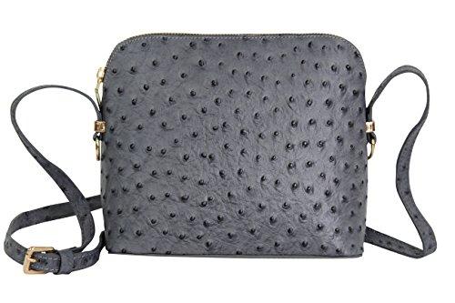 AMBRA Moda Damen Handtasche Umhängetasche Leder Tasche klein SL702 (Anthrazit)