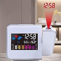 TiooDre Reloj Despertador de proyección, Pantalla LED Grande, Radio Digital, Radio FM,