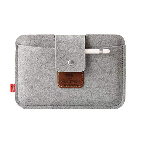 Pack und Smooch iPad Mini Case Sleeve Hülle LLEYN Aus 100% Merino Wollfilz Handmade in Germany - Grau/Hellbraun