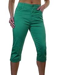 ICE (1510-5) Pantacourt en Jeans Extensible avec Diamante Vert Grande Taille