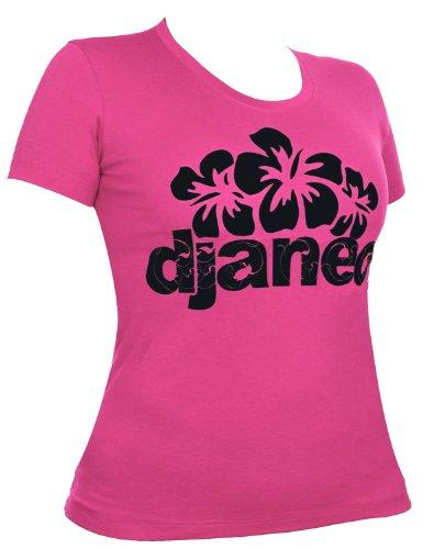 T-shirt damen baumwolle Djaneo Hibiscus kurzem ärmel in 6 Farben rosa und schwarz
